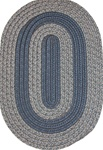 "Veranda 27"" x 48"" Braided Rug in Navy & Beige Tweed"