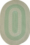 "Veranda 27"" x 48"" Braided Rug in Lime Green & Tan Tweed"