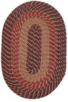 "Plymouth 22"" x 108"" Runner Braided Rug in Country Braid Black Red Gold"